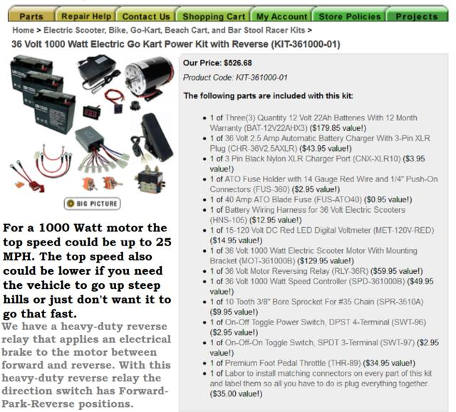36 Volt 1000 Watt Electric Go Kart Power Kit with Reverse..jpg